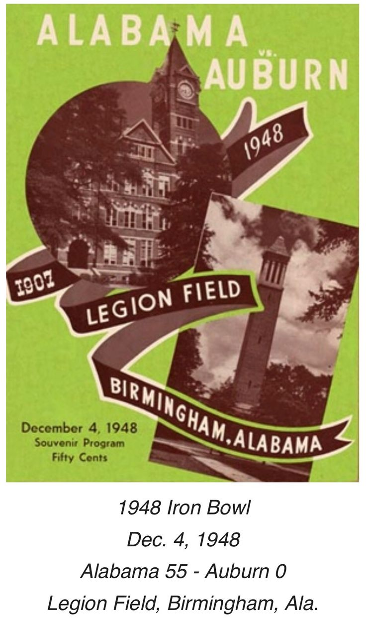Historic Alabama Game Programs from RollBamaRoll.com /  The 1948 Iron Bowl marked the first matchup in the series since 1907, and the first to be played in Legion Field. Though the city was still months away from having regular television service, a live telecast of the game was transmitted by shortwave radio for display at Municipal Auditorium. #Alabama #RollTide #Bama #BuiltByBama #RTR #CrimsonTide #RammerJammer
