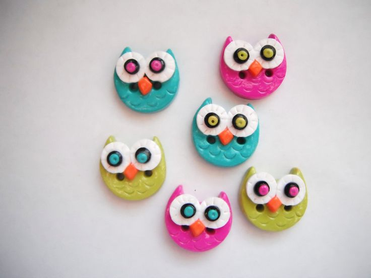 Button Simple Little Owls handmade polymer clay buttons ( 6 ). $8.50, via Etsy.