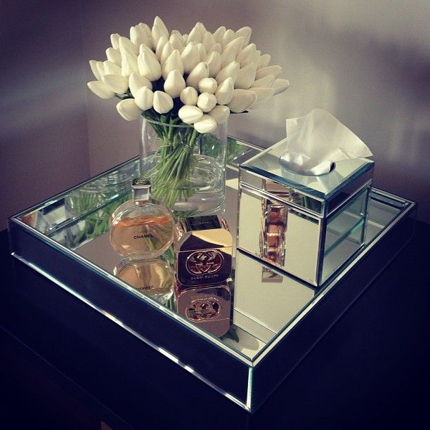 Mirror Home Decor, White tulips, Mirror tray, interior www.abodeaustralia.com