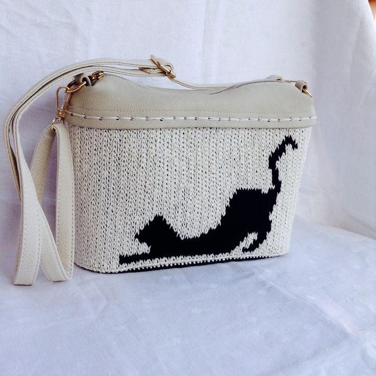 Funny cat: Borsa a tracolla bicolore su rete con gatto : Borse a tracolla di bags-dream-team