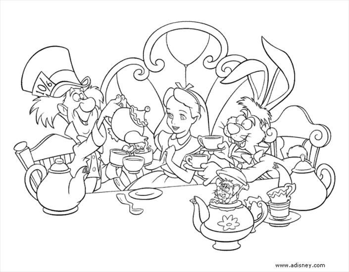 Alice In Wonderland Tea Party Coloring Pages Printable Sheets For Kids Get The Latest Free