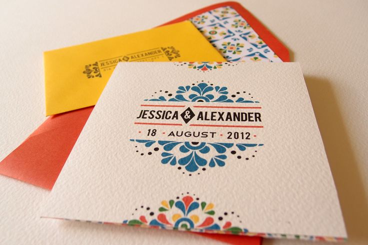 Spanish style wedding invitations. Cinco de Mayo wedding.