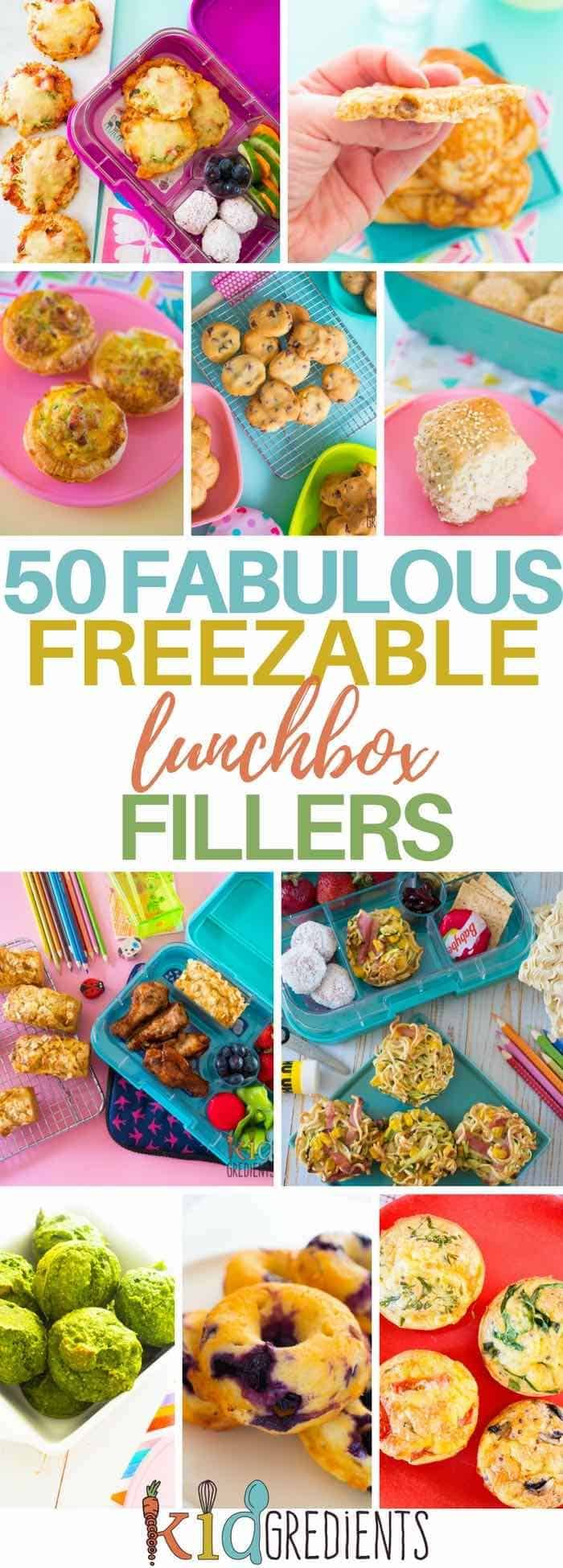 Don't fret about lunchboxes! Use our mega list to get you baking, making and freezing for Back to School! #kidsfood #lunchboxes #lunchbox #kidslunch via @kidgredients