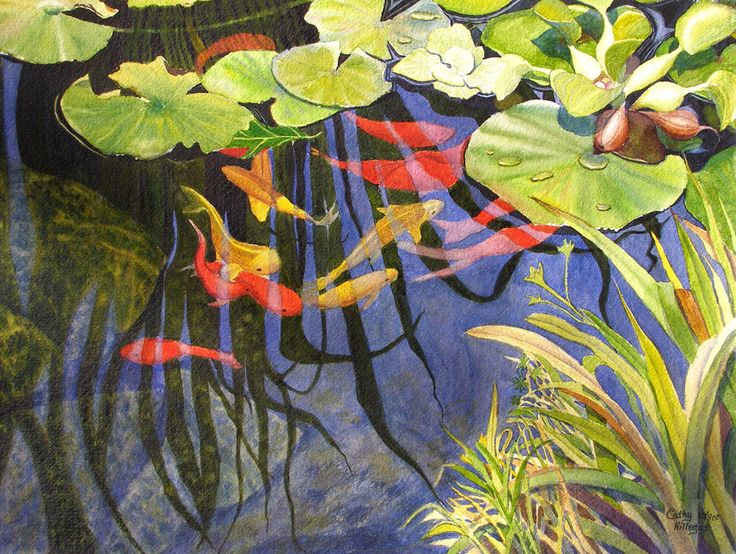 Koi fish lily pads art watercolor painting print 12x16 by for Koi pond art
