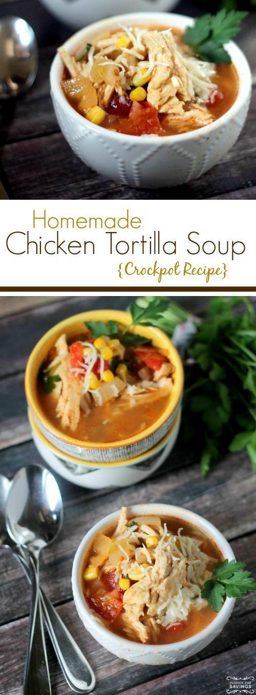 Crockpot Chicken Tortilla Soup Recipe! Homemade soup recipe and Easy Dinner Recipe!