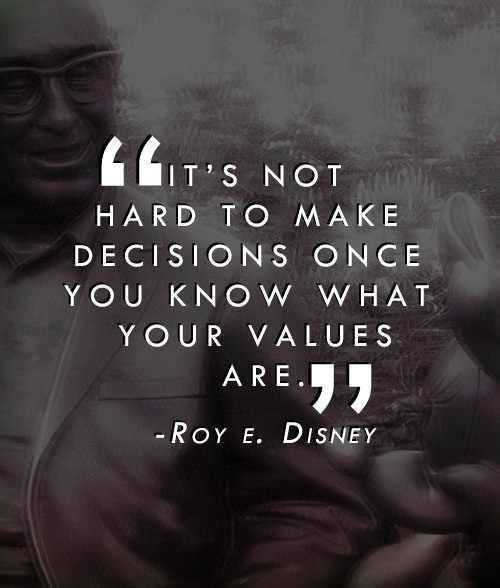"""Roy E. Disney """"Values"""" Quote : """" It's not hard to make decisions once you know what your values are."""""""
