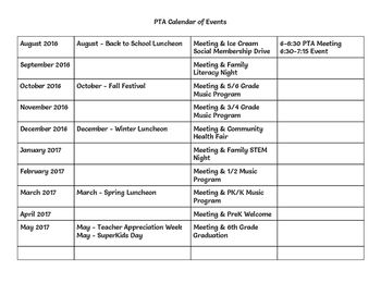 Having helped our PTA with setting up events, I thought I'd share it with all my educator friends. Here is a calendar of events. Please use it as you see fit. We scheduled our PTA meetings from 6-6:45pm and then held our school programs from 6:45-7:15pm.