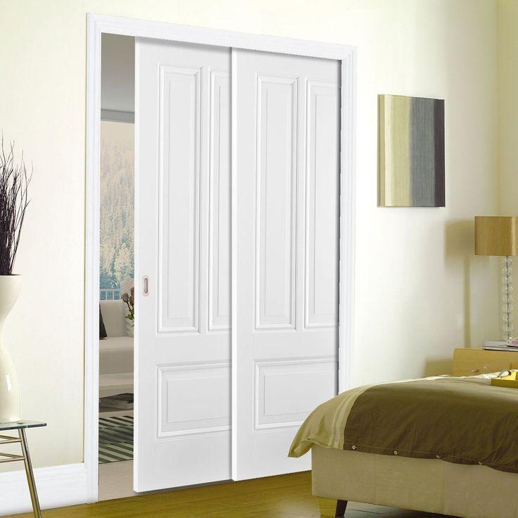 Twin Telescopic Pocket Peony 3P White Primed Doors.    #whitedoors #hiddendoors #interiordesign  #moderniinterior #moderndoors   #lpddoors