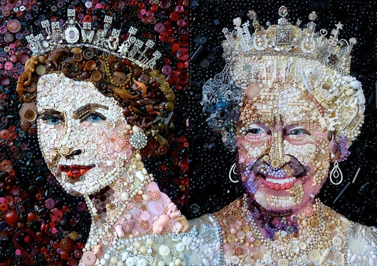 Artist Jane Perkins has created portraits of the Queen made from discarded pieces of rubbish Devon Open Studios 2012. The triptych depicts the monarch in three stages of life: during her Coronation, Silver Jubilee and the Diamond Jubilee.