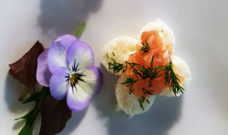 White toasted bread with cream cheese and smoked salmon fillet handmade by #GuidiLenci All rights reserved www.guidilenci.com