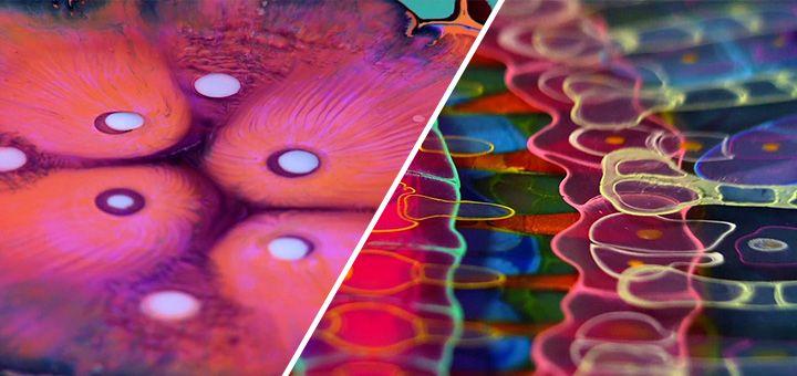 Psychedelické malby zalité v pryskyřici od Bruce Rileyho