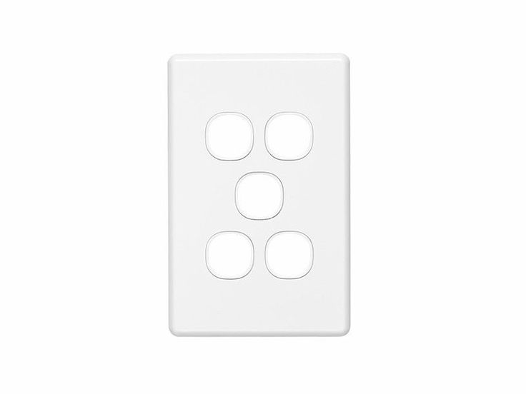Clipsal Five 5 Gang Wall Plate Classic Series Light Switch TV Data C2035VH White