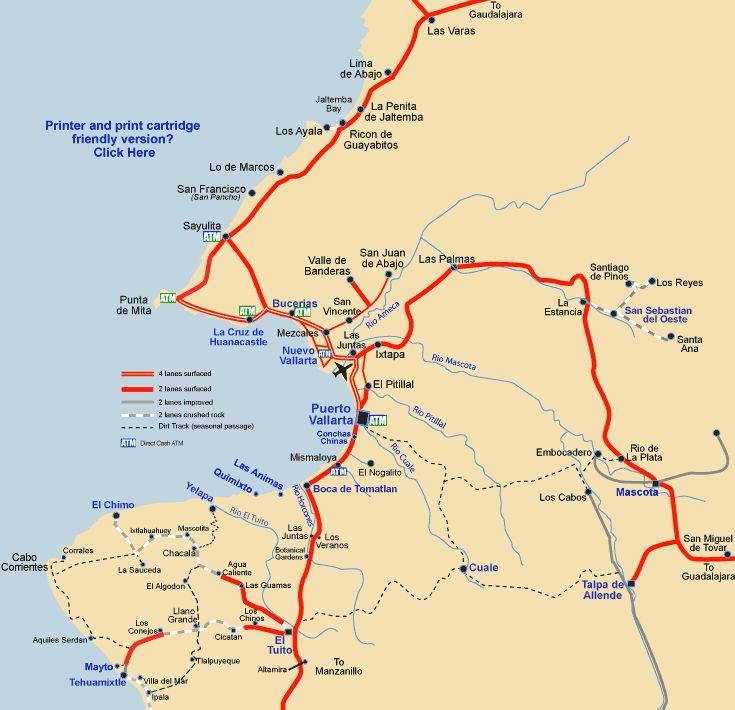 Map of Banderas Bay and Puerto Vallarta
