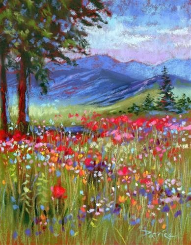 Wild Poppies and Bachelor Buttons - Original Fine Art for Sale - © Patricia Christensen