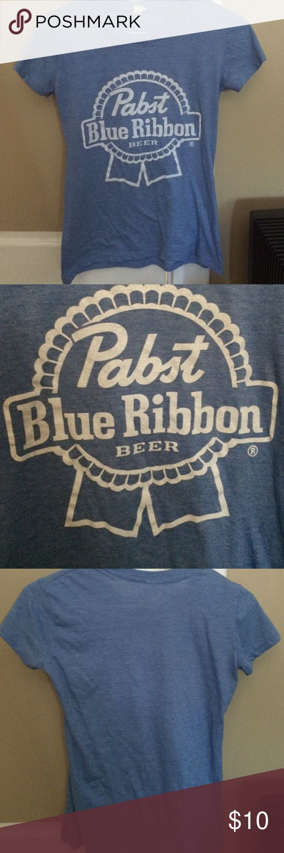 Pabst Blue Ribbon PBR Baby Blue Women's Tee-Shirt Lightweight with a tear away tag. Fits a women's medium well. White logo on the front, crew neck. I have a couple of these & cut one up - could be a great project for a cutout tee! If interested in measurements please LMK! Tops Tees - Short Sleeve