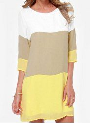Casual cuello redondo manga 3/4 del bloque del color de Ajuste Holgado vestido de las mujeres