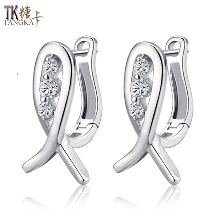 TANGKA 2017 fashion creative smile fish earrings female models high-end temperament black silver earrings jewelry sales