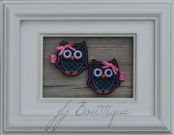 Black, pink and turquoise Owl Hair Clips - hc040 -$5.00 for pair available on jLj Bowtique