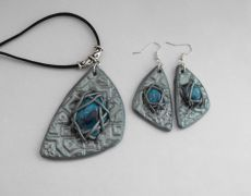Gothic -set polymer clay  - Modern jewelry set, Contemporary jewelry