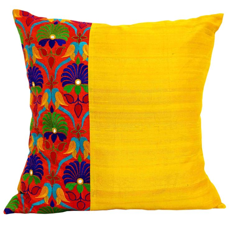 Kutch Embroidery Silk Pillow Cover in Orange and Yellow – DesiCrafts