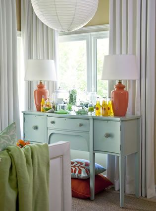coral & aqua sideboard and lamps