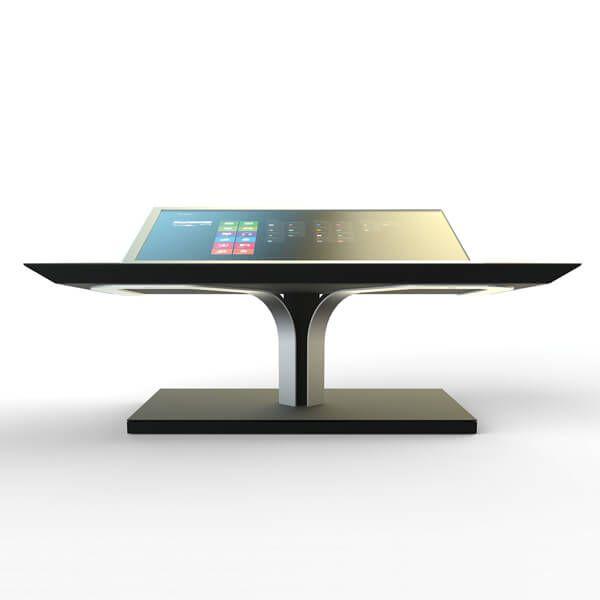 Table basse interactive iHOME : table basse tactile multitouch. Design épuré, hautes performances. Déploiement application tactile multi-utilisateurs.