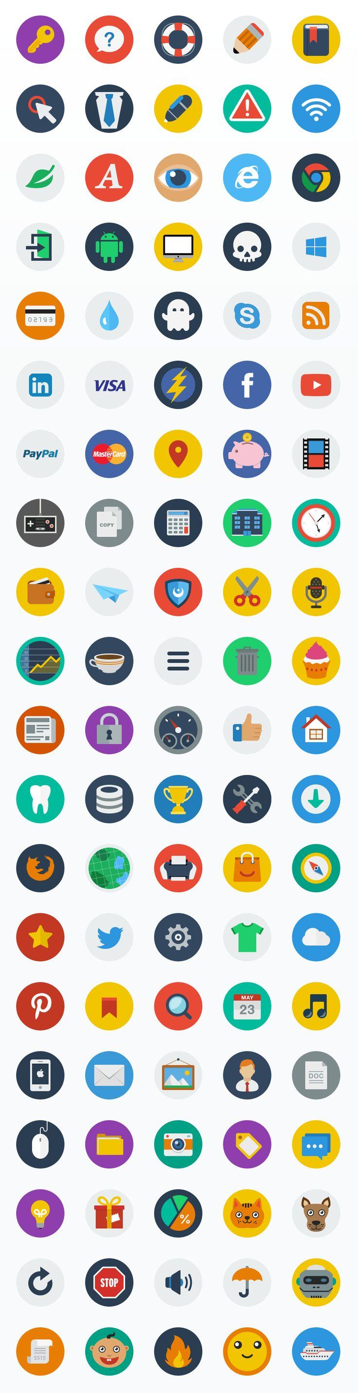 Flat Icon Set by Web Icon Set (via Creattica)