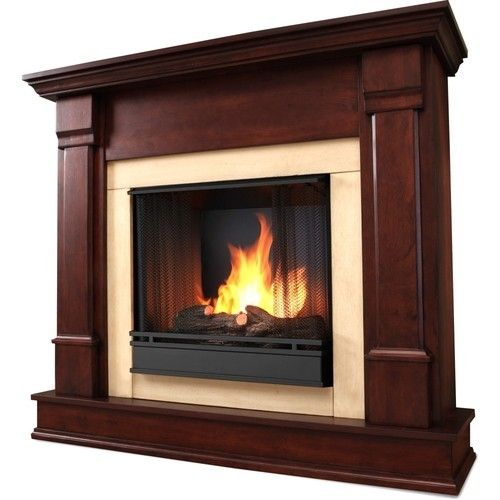 real flame® - Freestanding Gel Fireplace - Indoor Usage - Dark Mahogany