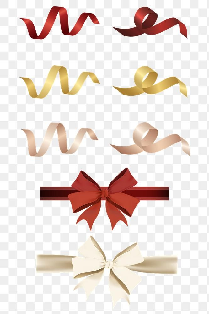 Ribbon And Bow Element Set Transparent Png Premium Image By Rawpixel Com Kappy Kappy Christmas Card Images Ribbon Png Christmas Ribbon