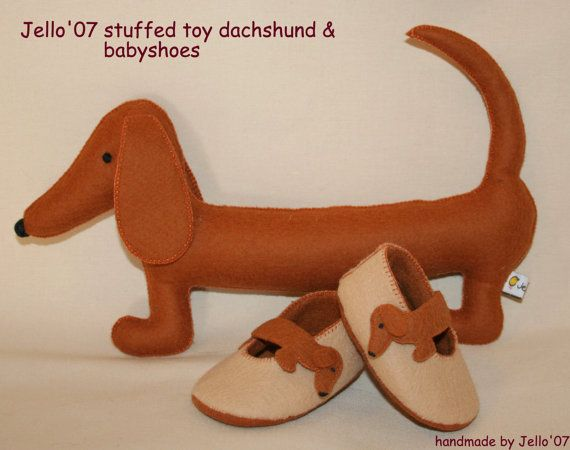 Babyshoes & toy dachshund by jello07 on Etsy, $50.00