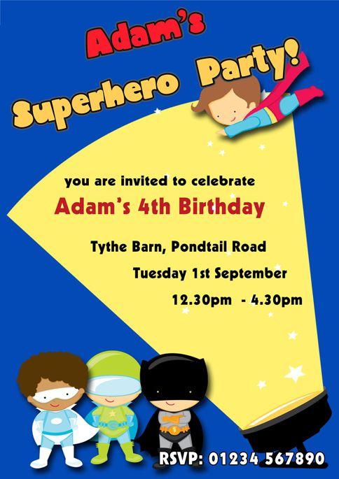 Superheroes Children's Party Invitations