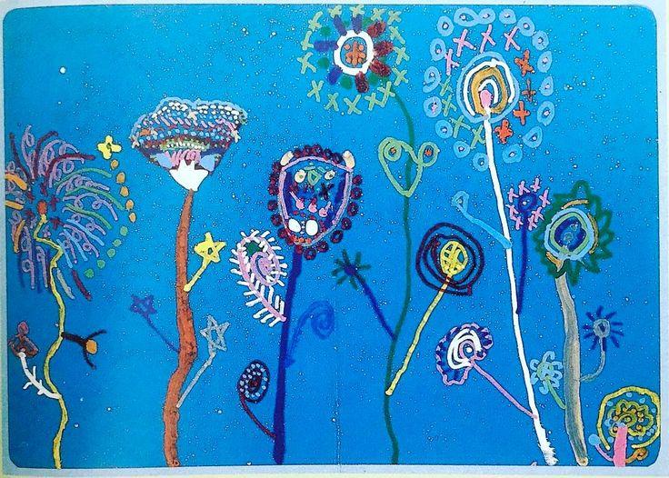 新版子供の絵と大脳のはたらき園田正治著1989年黎明書房より鳥羽市立菅島保育所の5歳の女の子が描いた絵です花火という言葉のもとの意味を思いおこさせてくれますね そして花火であり植物であり彼女のイマジネーションの中にしか存在しない美しい存在を描ききっています  #kidsart #kidsartwork #art #kidsdrawing #mykids #kidscraft #creativekids #creativeplay #childrensart #toddlerart #pretendplay #learningthroughplay #kidsactivities #子供の絵 #こどもの絵 #子供の落書き #キッズアート #こどもアート #子どもの絵 #息子の絵 #娘の絵 #子供の作品 #娘の作品