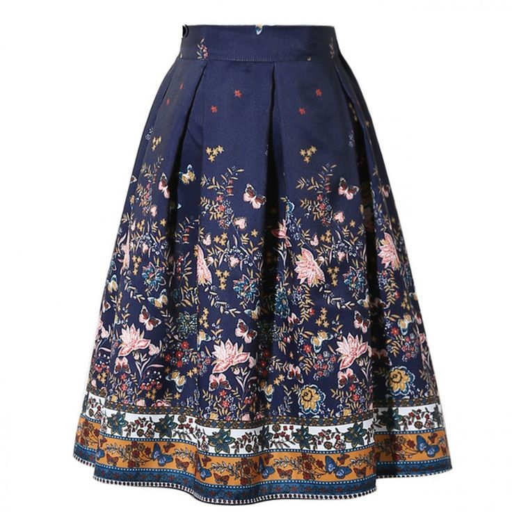 2017 New Design Midi Skirts Vintage Floral Printed Swing Pleated Flared Women Skirt