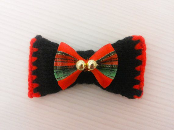 Papillon/unisex bow brooch handmade with red and Black by Theart2