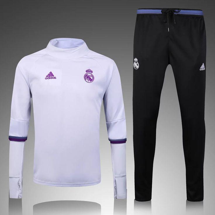 Real Madrid 2016/17 White Top Black Pants Men Tracksuit Slim Fit