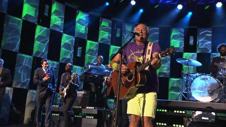 ATOMIC Chiclet SuperLever panels hanging out behind Jimmy Buffett performing Margaritaville on The Tonight Show with Jimmy Fallon