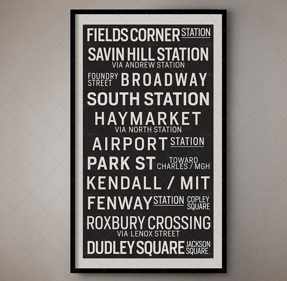 Boston Massachusetts Retro Bus Roll Sign Bus Blind by FoundryCo
