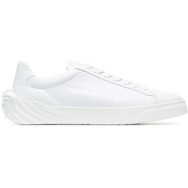 Versace Leather Sneaker ($656) ❤ liked on Polyvore featuring men's fashion, men's shoes, men's sneakers, white, versace mens shoes, versace mens sneakers, mens white shoes, mens leather shoes and mens leather sneakers