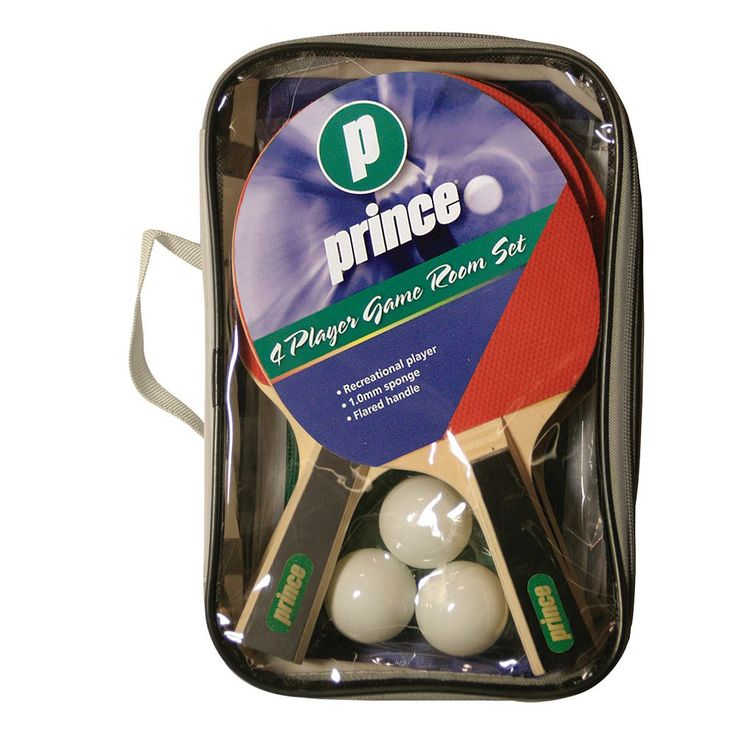 Prince 4-Player Game Room Table Tennis Paddle Set, Red
