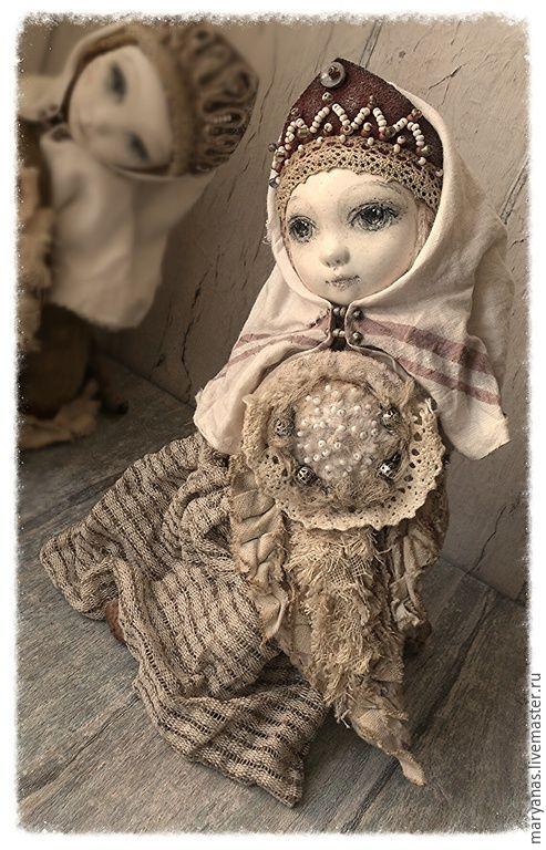 """Купить """"О чем плачет Сирин?.."""" птичка-куколка тедди-долл - бежевый, коричневый"""
