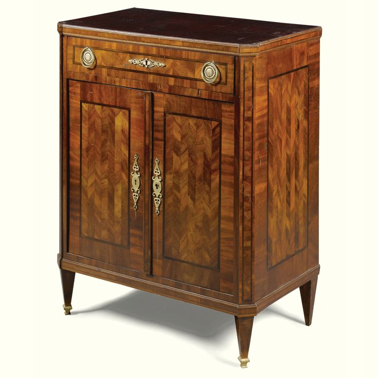 An Austrian gilt-bronze-mounted mahogany, parquetry and stained sycamore inlaid side cabinet, probably Viennese circa 1820