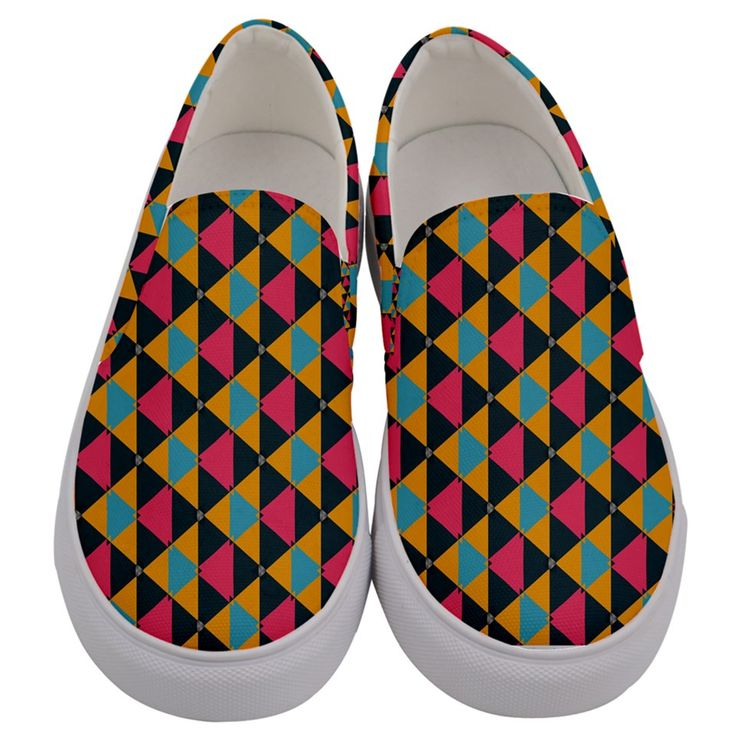 Triangles Pattern Men's Canvas Slip Ons