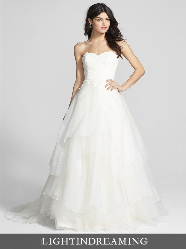 Strapless Sweetheart Lace Bodice Wedding Dresses with Tiered Ball Gown