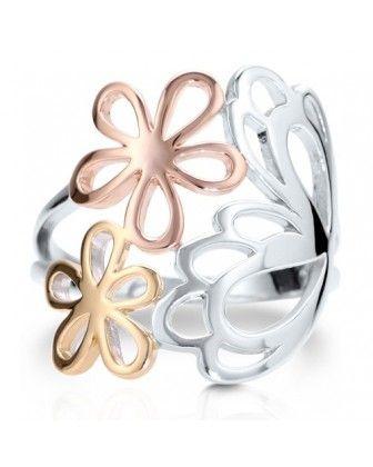 """Трехцветное  кольцо """"Бабочка с Цветами"""" из стерлингового серебра"""
