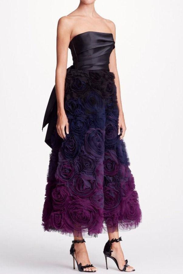 e7293b83 Marchesa Notte Black Strapless Ombre Textured Midi Tea Dress Gown | Poshare