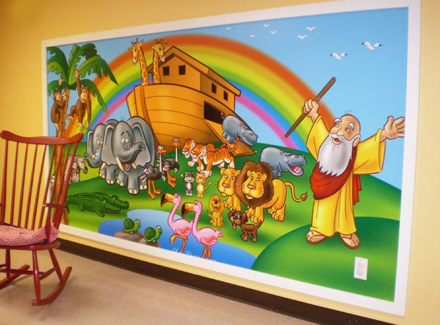 17 best ideas about kids church rooms on pinterest kids for Church nursery mural
