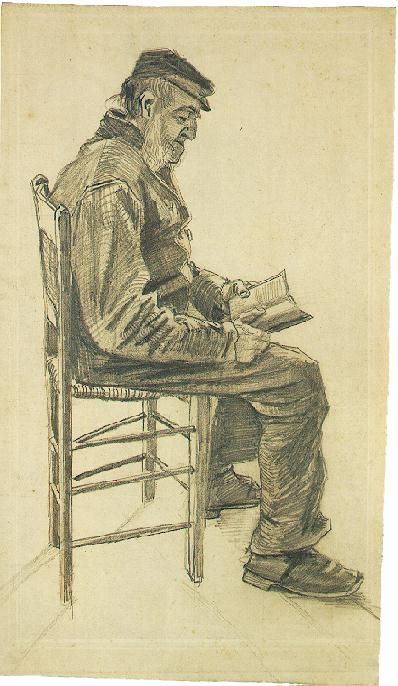 Vincent van Gogh: Old Man Reading  I LOVE HIS SKETCHES. Trying to sketch this but have yet to conquer.