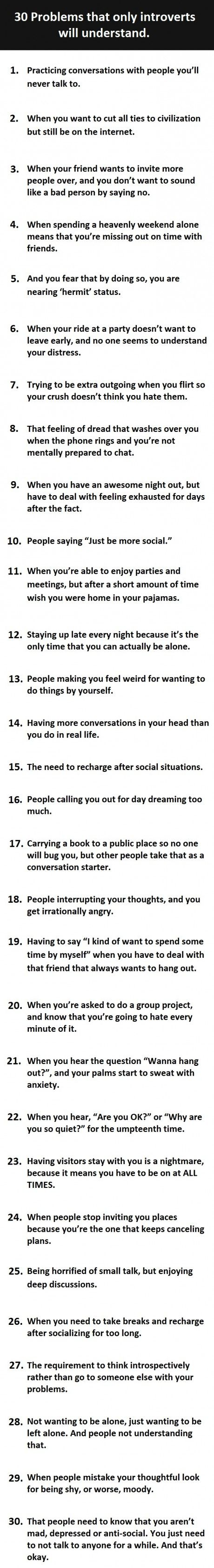 30 things that only introverted people will understand...