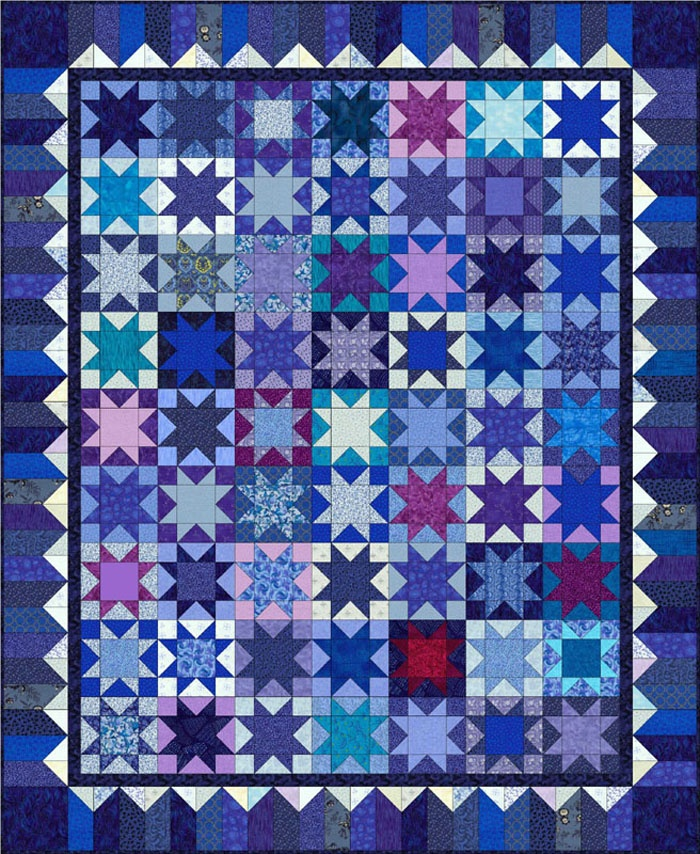Pat Quinn's quilt is a perfect excuse to fall in love with one color and buy it in all shades whenever you find it, just like she must have done.