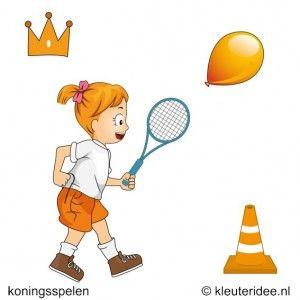Geef ieder kind bij beurten of tegelijk een oranje ballon en een tennisracket. De kleuters moeten de ballon door de lucht naar de finish slaan. Als de ballon de grond raakt voor de finish is bereikt, moet de speler van voren af aan beginnen.